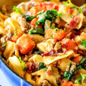 Creamy Tortellini Toscana with Sausage, Spinach and Bacon!