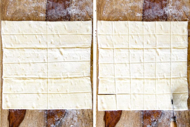 Showing how to make Artichoke Dip Bites by cutting puff pastry into squares on a wood cutting board