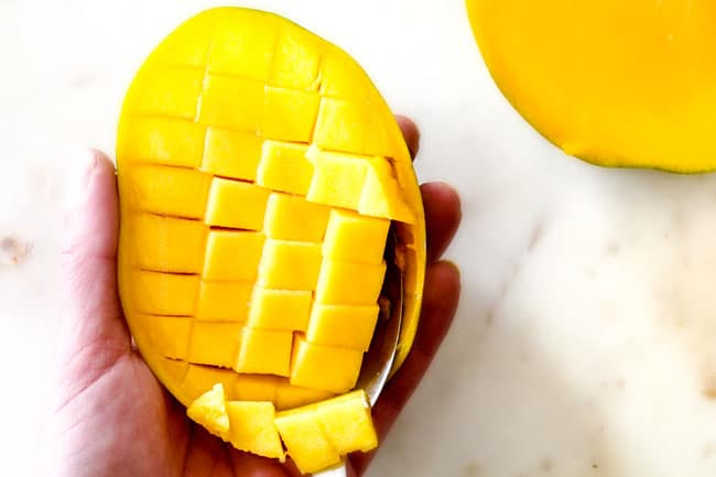 showing how to cut a mango