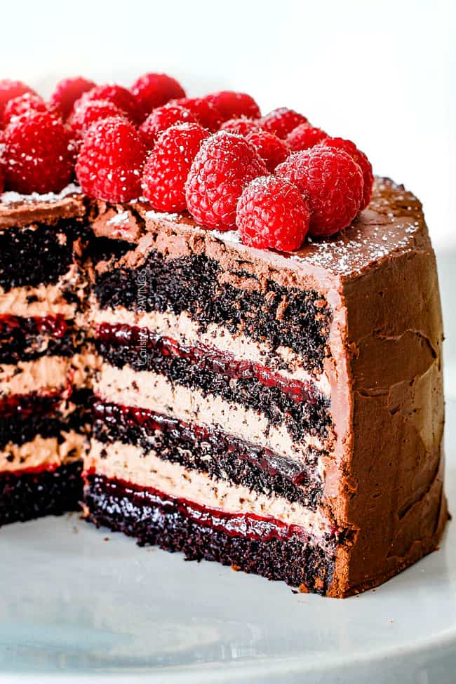 chocolate ganache frosting over a chocolate raspberry cake