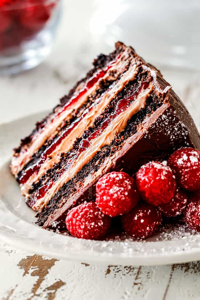 a slice of moist Chocolate Raspberry Cake on its side showing layers of dark chocolate cake, raspberry jam filling, chocolate ganache and chocolate mousse