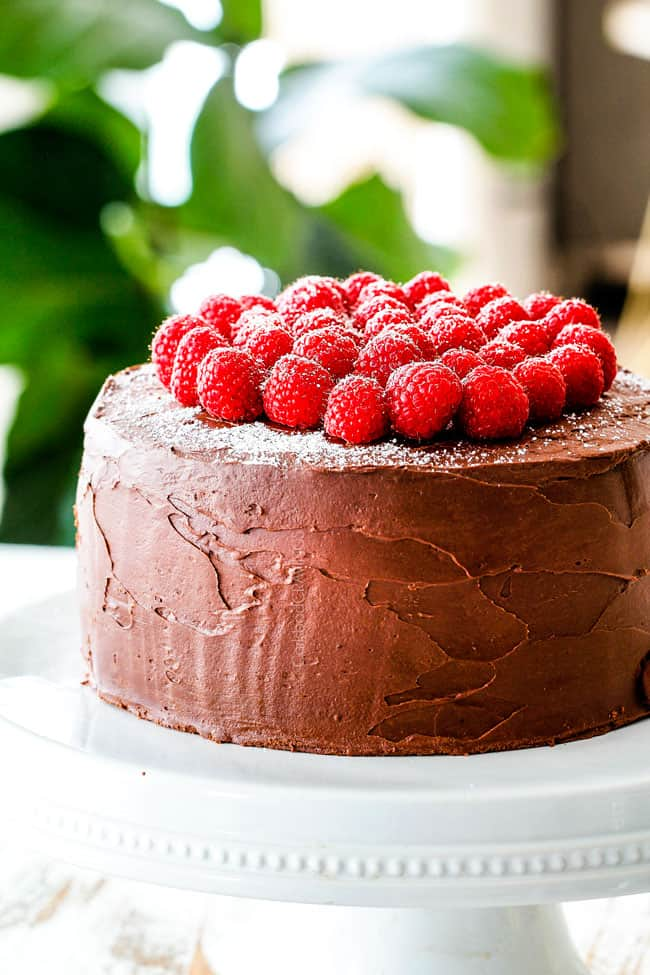Dark Chocolate Raspberry Cake on a white pedestal with raspberries on top