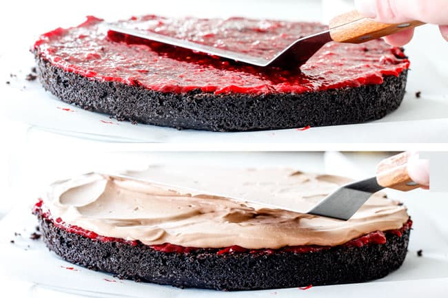 showing how to frost moist Chocolate Raspberry Cake by frosting chocolate cake layer with raspberry jam followed by chocolate mascarpone