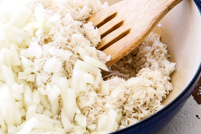 showing how to make easy Mexican Rice by cooking rice with onions