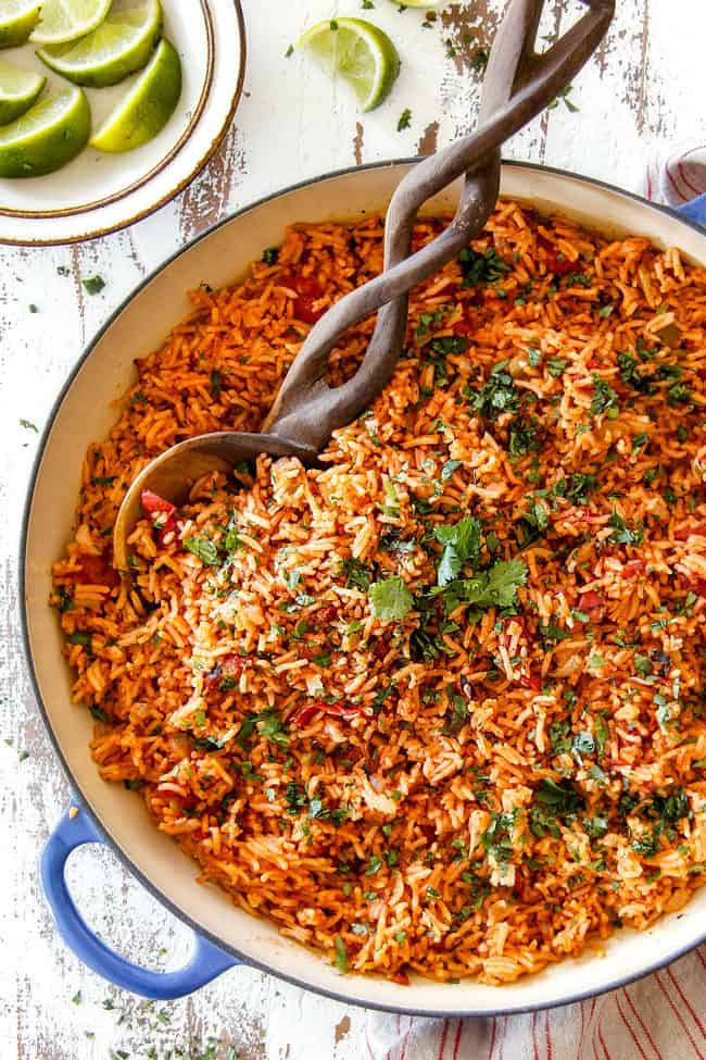 Top view of easy Mexican Rice in a blue skillet