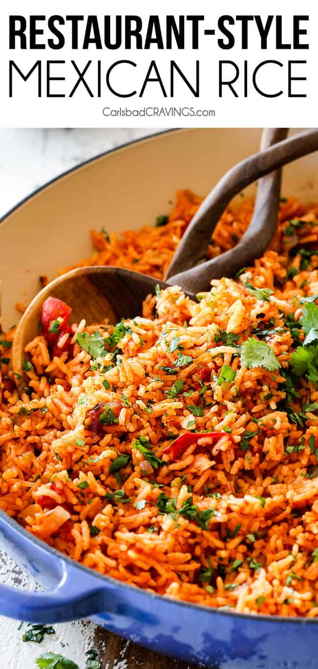 This easy Mexican Rice rivals any restaurant, is so easy to make at home and the perfect addicting side for all your Mexican dishes! Tips and tricks and customizable options included!