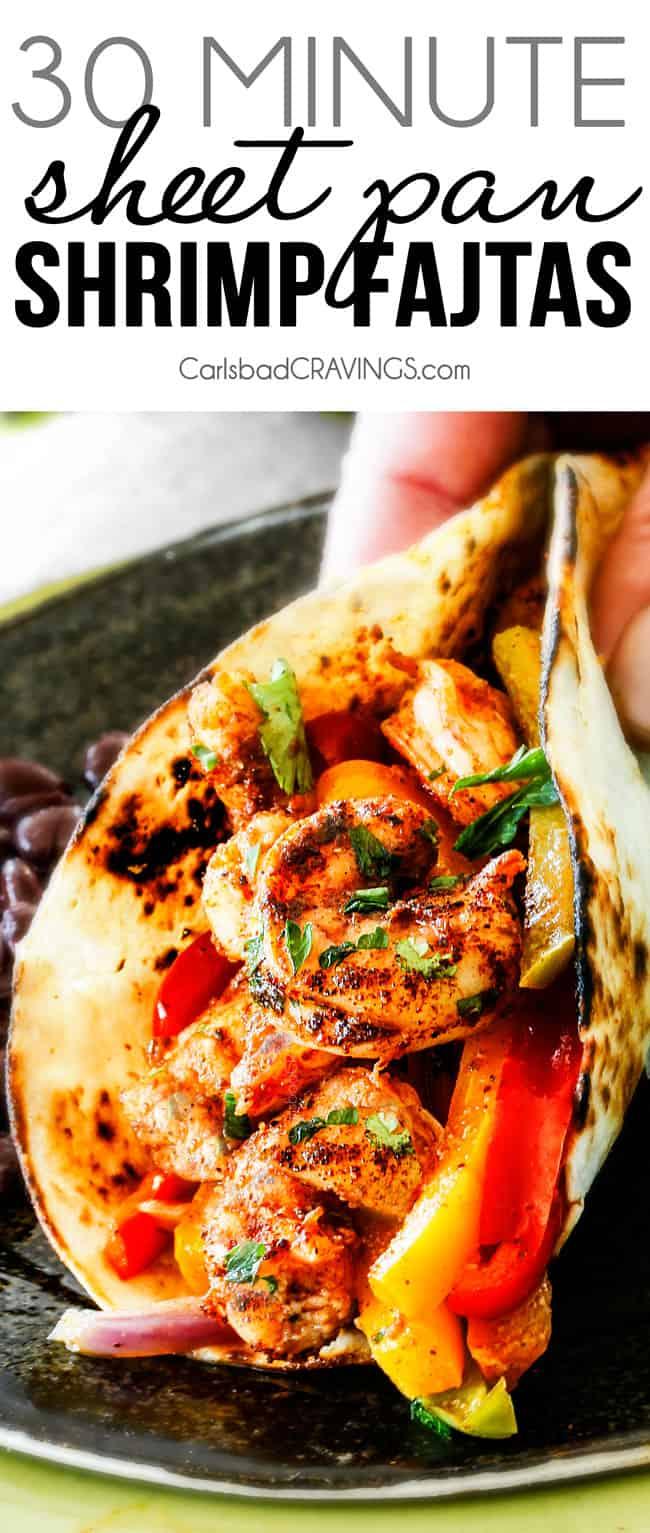 best Shrimp Fajitas in a flour tortilla with cilantro on a metal plate