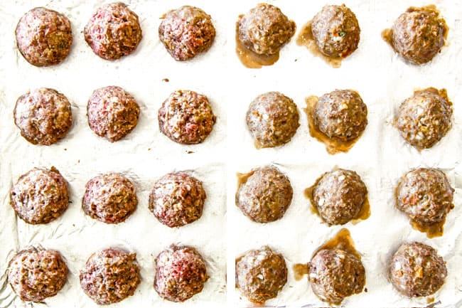 Showing how to make Swedish Meatballs by placing them on a baking sheet to bake in the oven