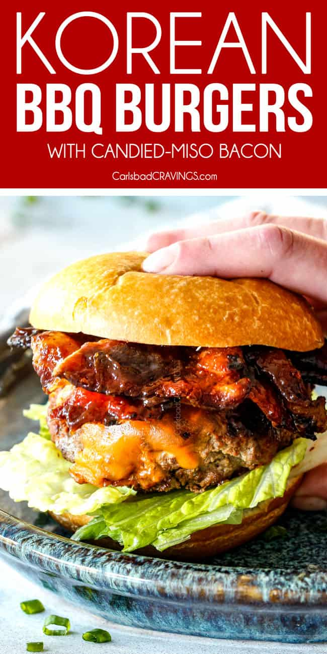 picking up a Korean BBQ Burger with bacon, lettuce and tomatoes