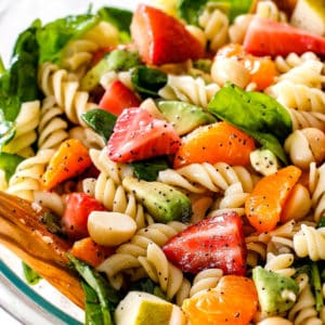 Strawberry Avocado Pasta Salad with Poppy Seed Dressing