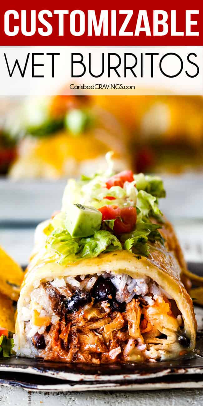 crazy delicious, easy WET BURRITOS with your choice of Barbacoa, Chipotle Sweet Pork, Carnitas or Mexican Chicken, loaded with rice, beans and cheese then smothered in red or green enchilada sauce for the ultimate easy Mexican comfort food!