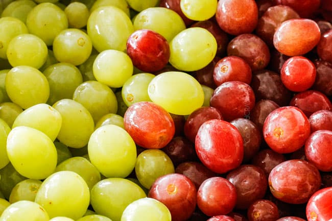 up close of green and red grapes for Grape Salad