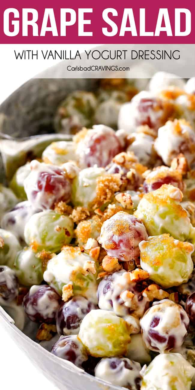 up close of best grape salad with brown sugar and pecans