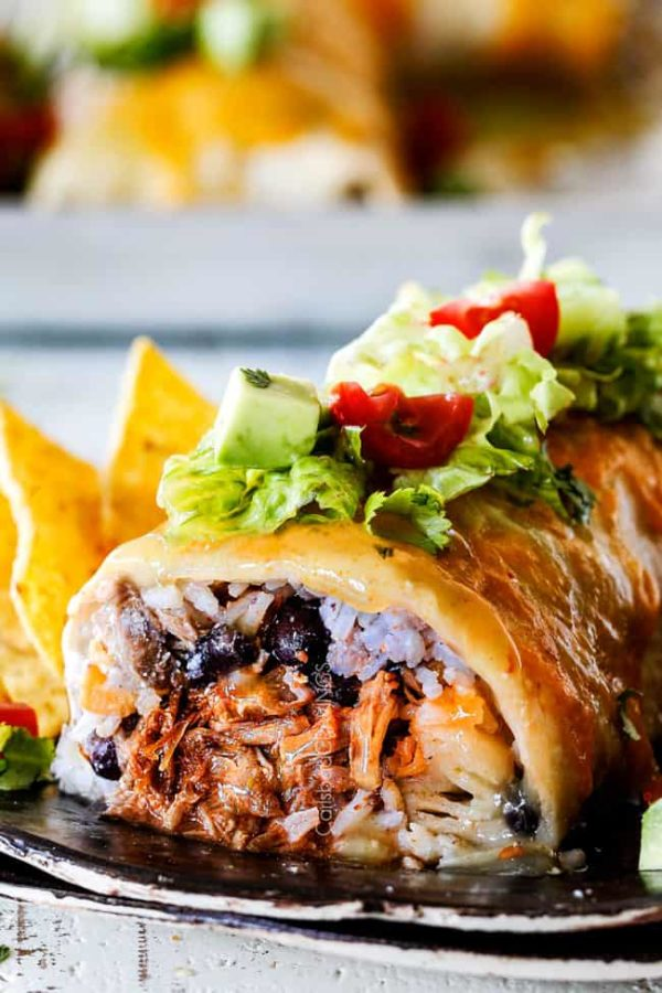 Wet Burritos With Chipotle Sweet Pork Barbacoa Or Mexican Chicken