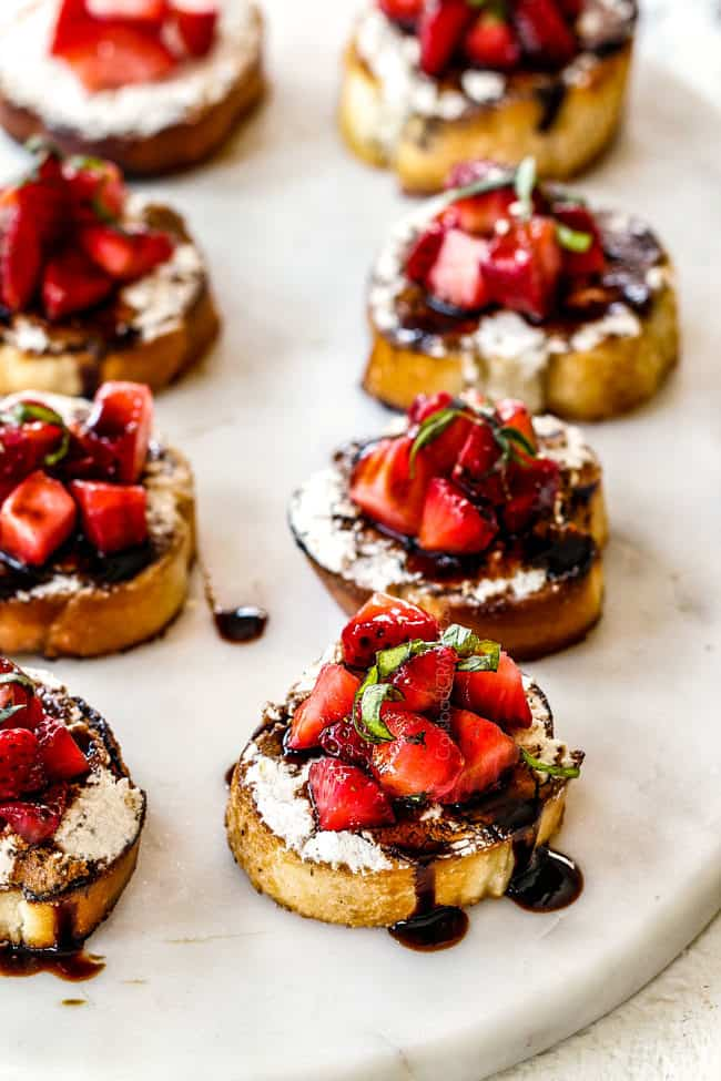 making Strawberry Goat Cheese Bruschetta