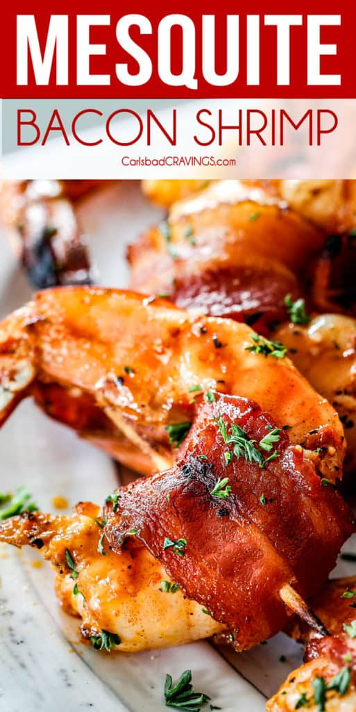 up close of best bacon wrapped shrimp with homemade cocktail sauce