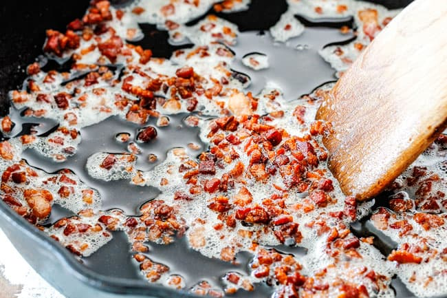 Showing How to make Baked Beans by cooking bacon in a skillet