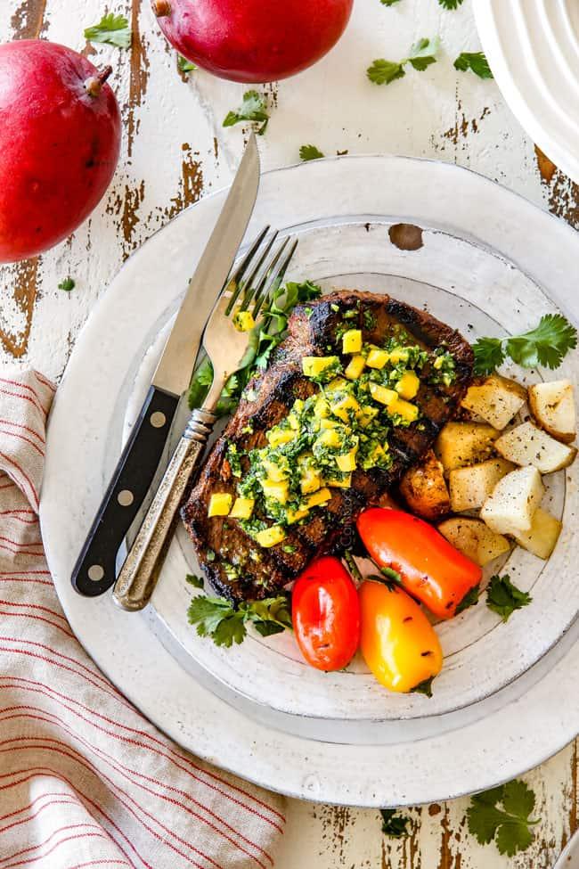 top view of best Chimichurri steak with chimichurri