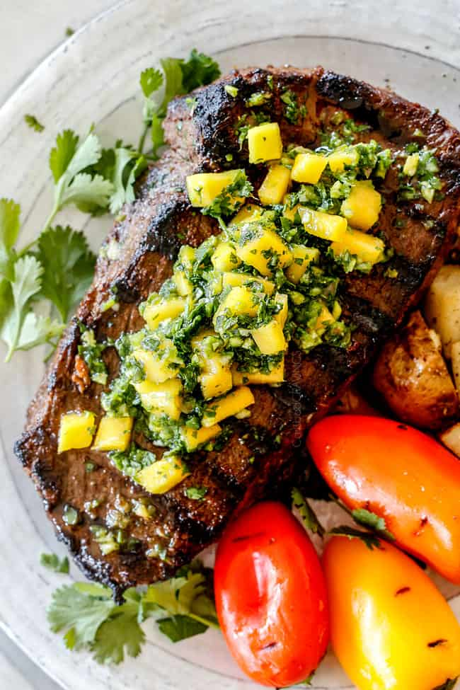 top view of easy Brazilian steak with chimichurri