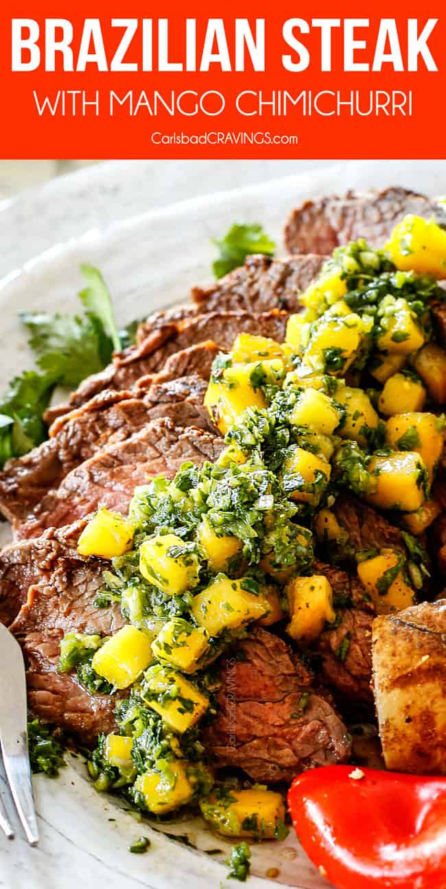Chimichurri steak sliced on a plate with chimichurri