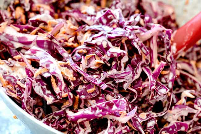 Making tangy coleslaw for Brisket Sandwiches with Coleslaw