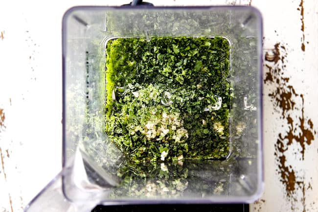 Adding Cilantro Lime dressing ingredients in a blender for Corn Salad Recipe