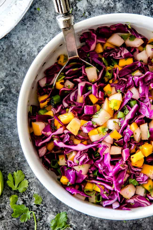 top view of Asian Pear Slaw in a white bowl