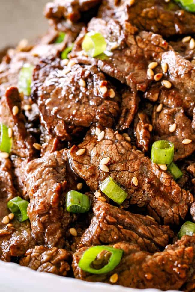 up close of Beef Bulgogi for Korean Beef Tacos
