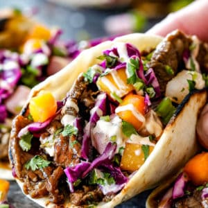 Bulgogi Beef Korean Tacos with Asian Pear Mango Slaw
