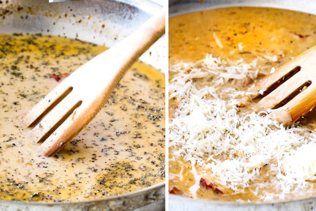 showing how to make Sun-Dried Tomato Pasta by whisking Parmesan into creamy sauce