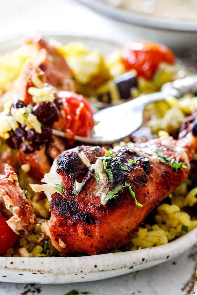 a plate of partially eaten grilled Tandoori Chicken with rice, beans, tomatoes and yogurt dip