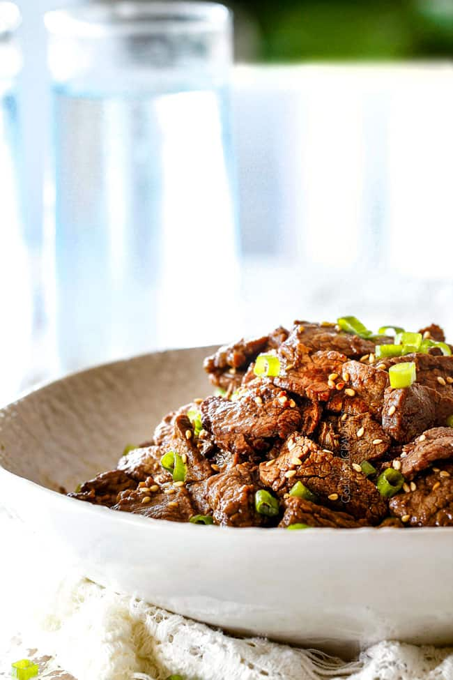 side view of easy Bulgogi recipe in a white dish