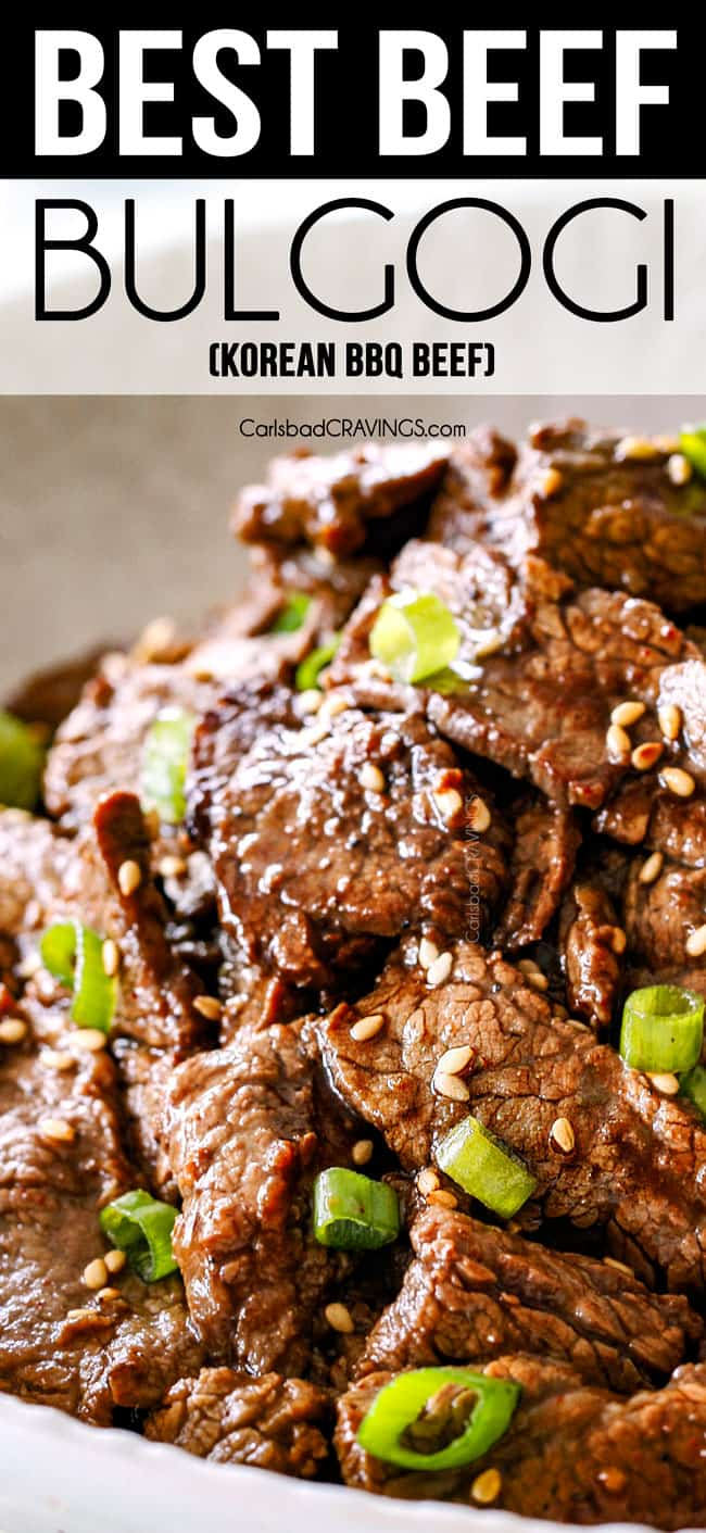 Up close of Best Beef Bulgogi with sesame seeds and green onions