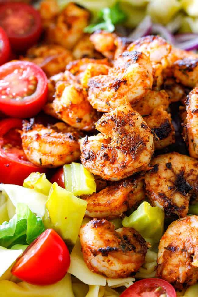 up close of Cajun Shrimp in Shrimp Pasta Salad