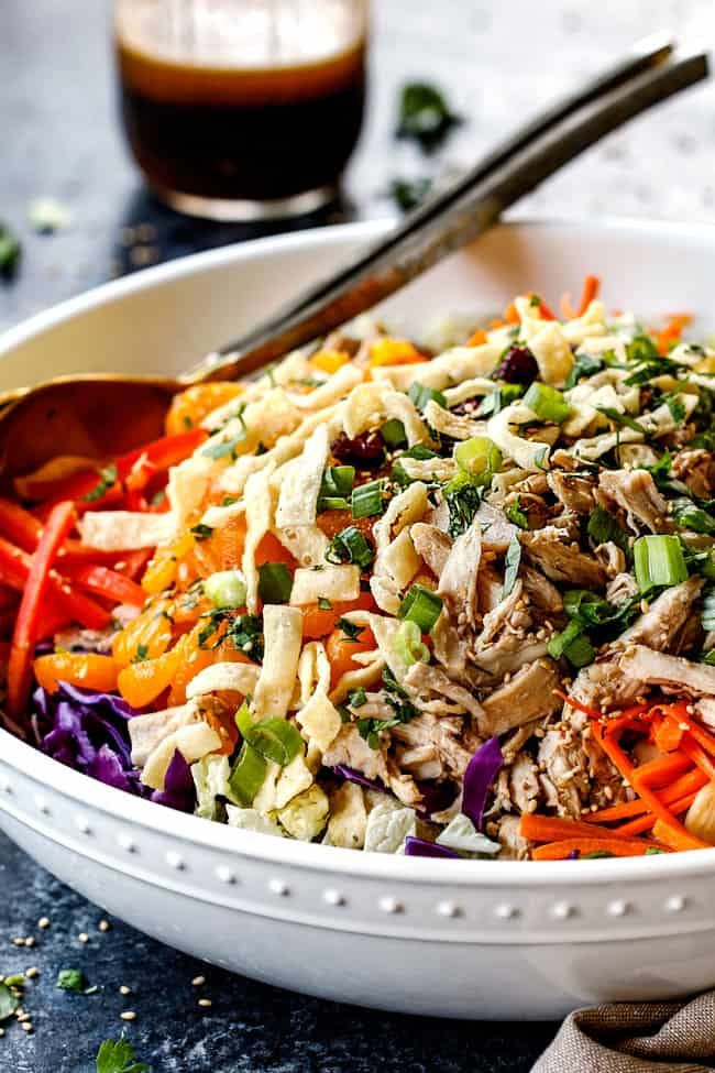 side view of healthy Chinese chicken salad with mandarin oranges, peanuts napa cabbage, wontons, carrots, snow peas, red bell peppers and sesame ginger dressing