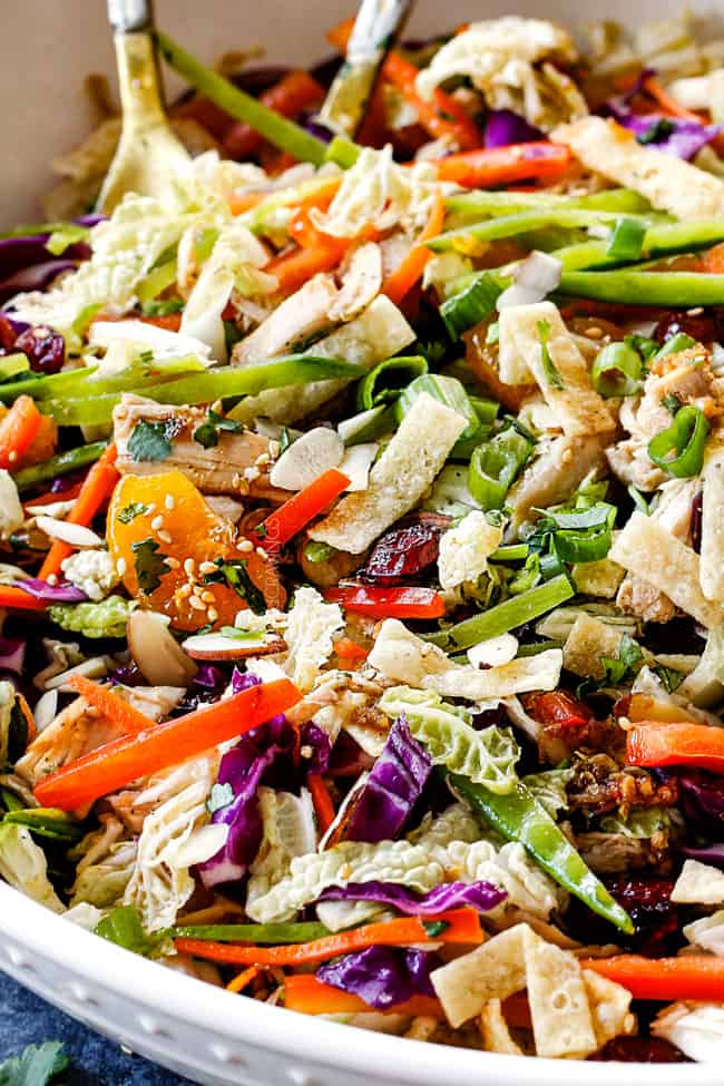best ever Chinese chicken salad with mandarin oranges, peanuts napa cabbage, wontons, carrots, snow peas, red bell peppers all tossed together with sesame dressing