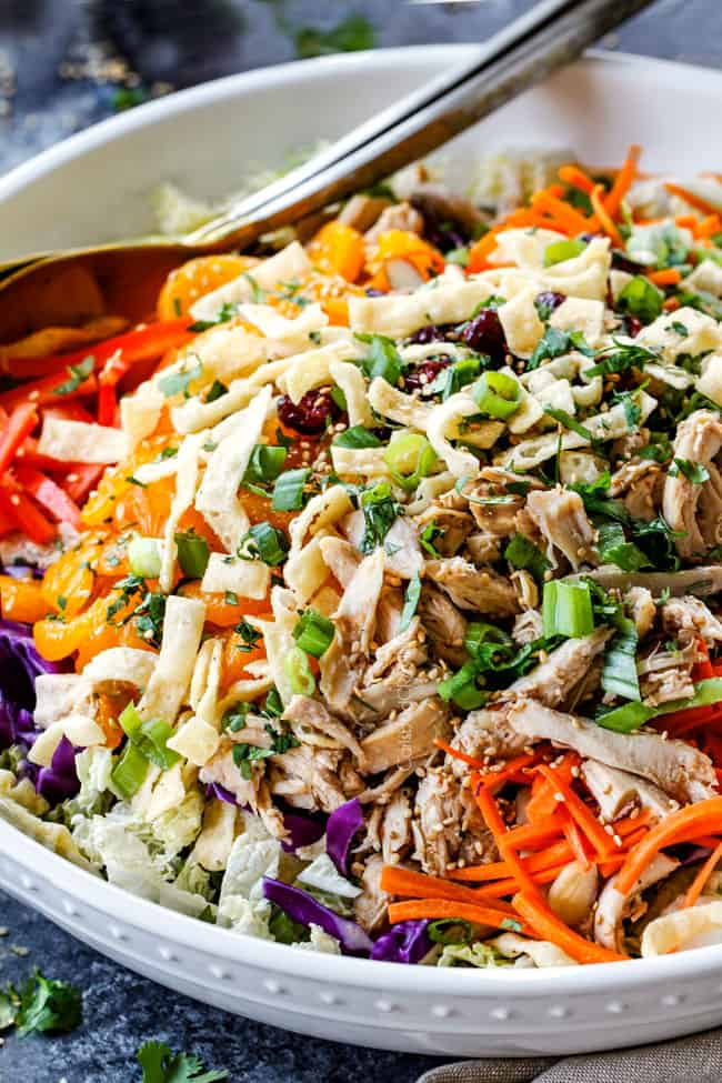 side view of healthy Chinese chicken salad with ramen noodles, mandarin oranges, peanuts napa cabbage, wontons, carrots, snow peas, red bell peppers and sesame ginger dressing