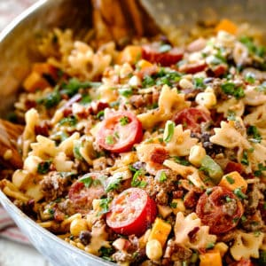 Cowboy Pasta Salad with the BEST Dressing!