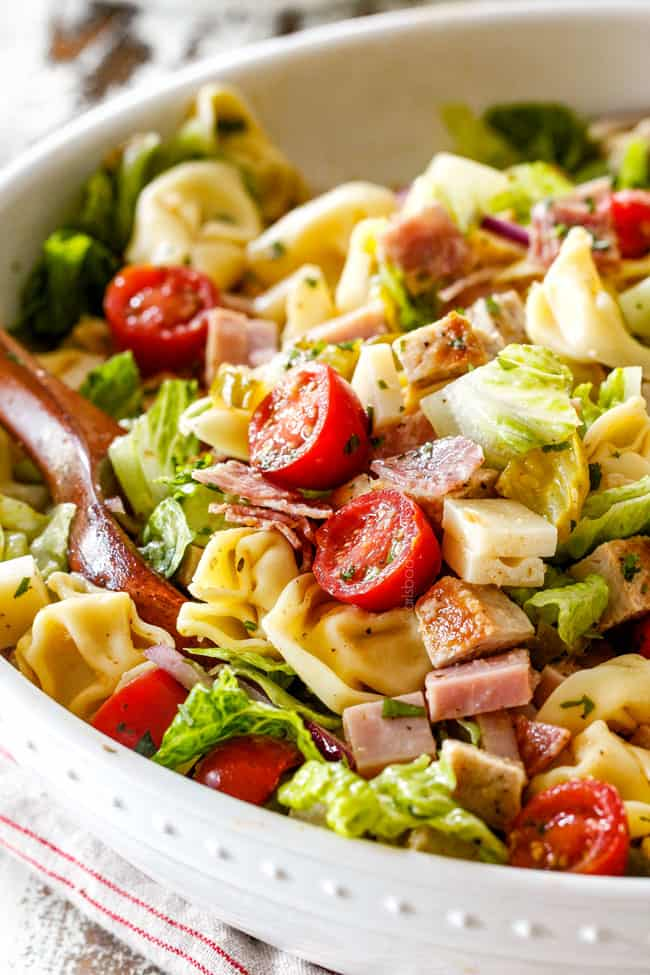 up close of pasta salad with tortellini