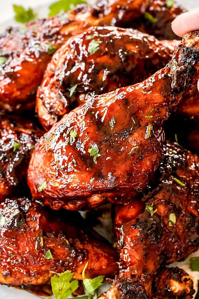 up close of grilled bbq chicken drumstick