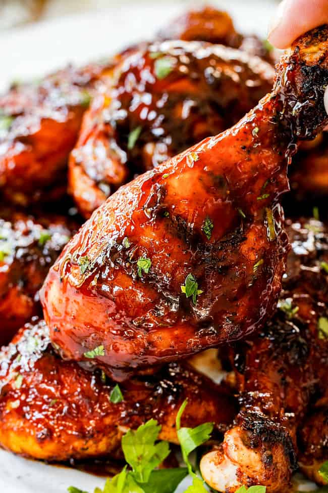 up close grilled bbq chicken with barbecue sauce