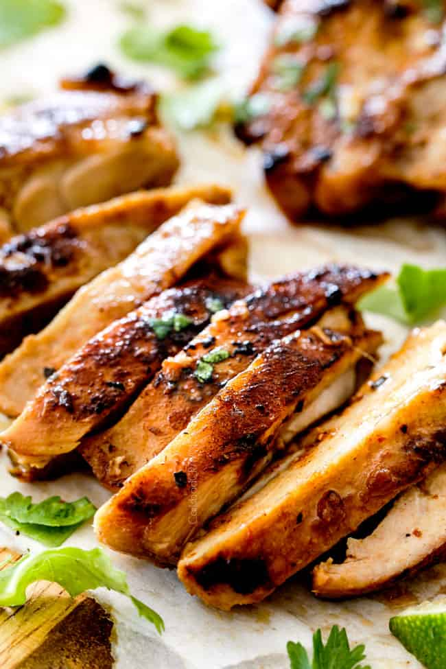 slices of Vietnamese Lemongrass Chicken on a cutting board