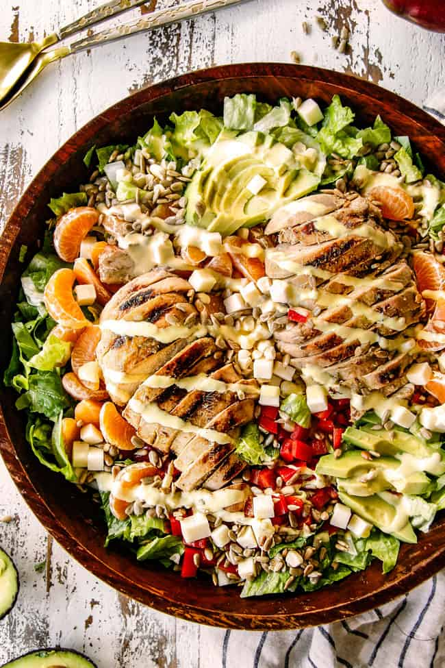 salsa verde chicken on top of a salad