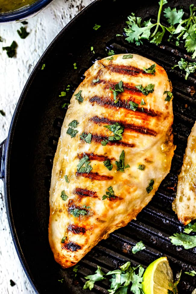 top up close view of a piece of grilled Salsa Verde Chicken