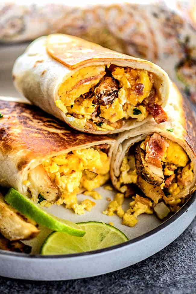 up close of make ahead breakfast burritos