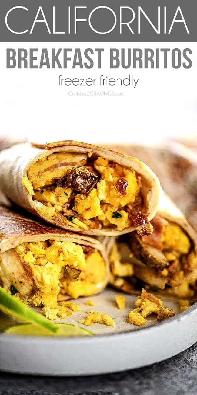 up close of easy Breakfast Burritos with eggs, bacon and cheese