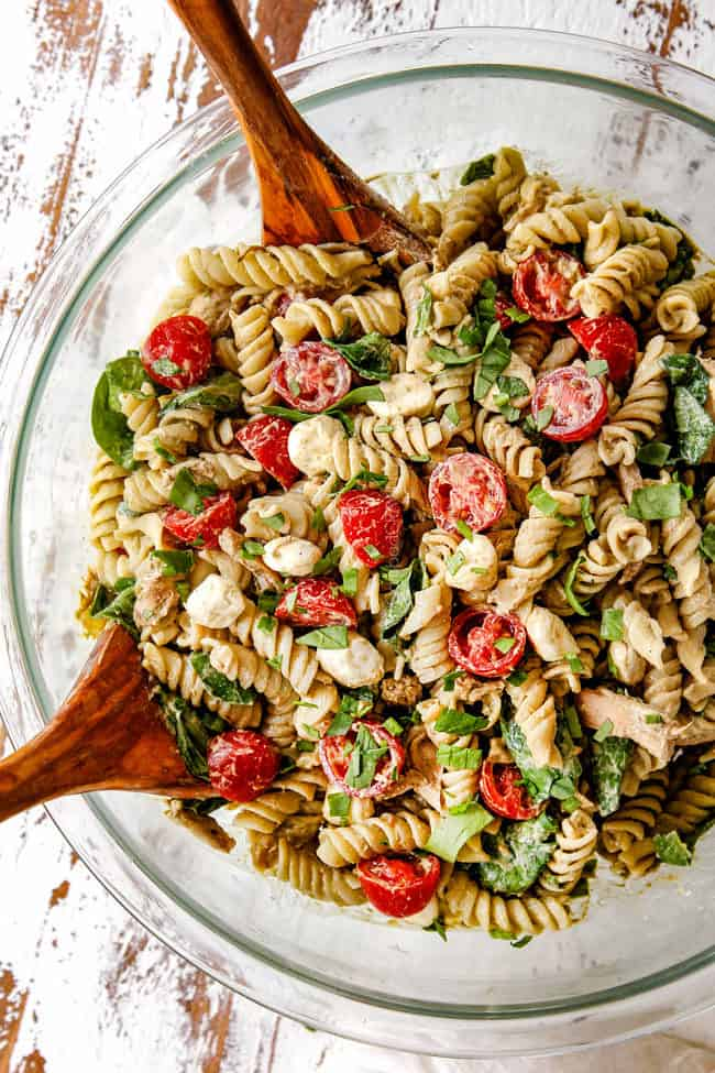top view of a bowl of healthy Caprese pasta salad