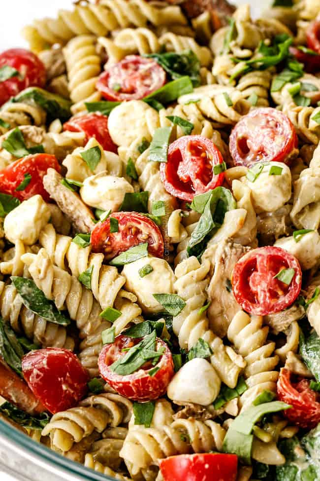up cols of caprese pasta salad with pesto