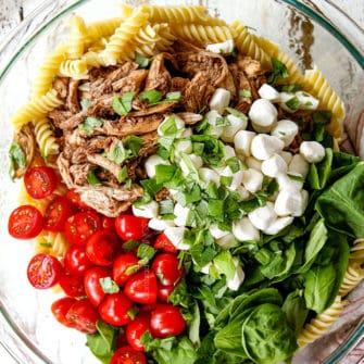 Caprese Pasta Salad with Avocado Pesto Dressing