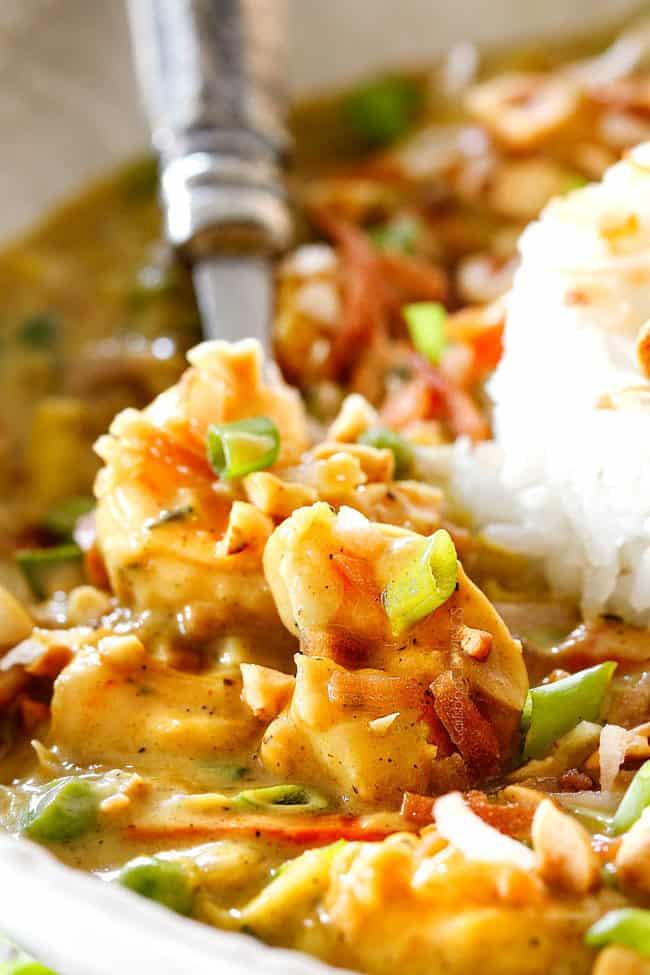up close of Bang Bang shrimp with thai chili coconut sauce
